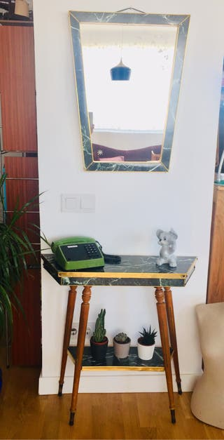 Recibidor mesa y espejo vintage
