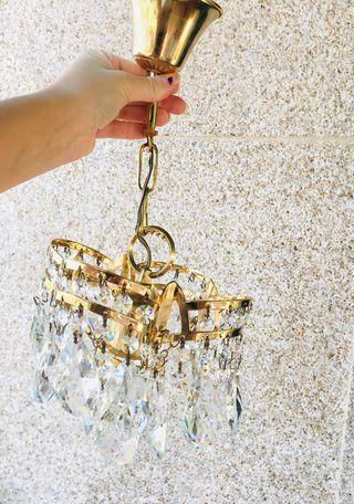 Lámpara dorada cristal de roca