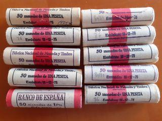 Lote 10 cartuchos 50 monedas 1 peseta