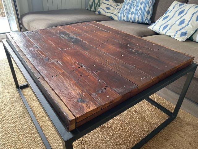 MESA BAJA INDUSTRIAL Hierro madera