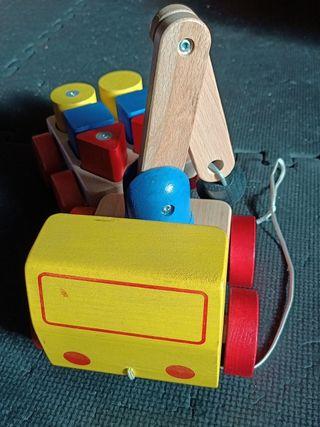 camión grúa madera con imanes
