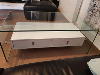 Mesa de centro de cristal y blanca