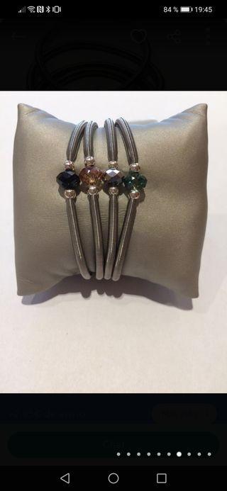 pulsera elastica de acero y plata
