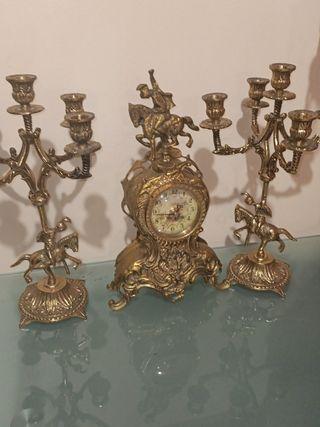 conjunto reloj dos candelabros