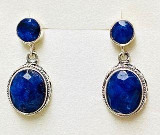 Pendientes de zafiros azules y plata de ley 925