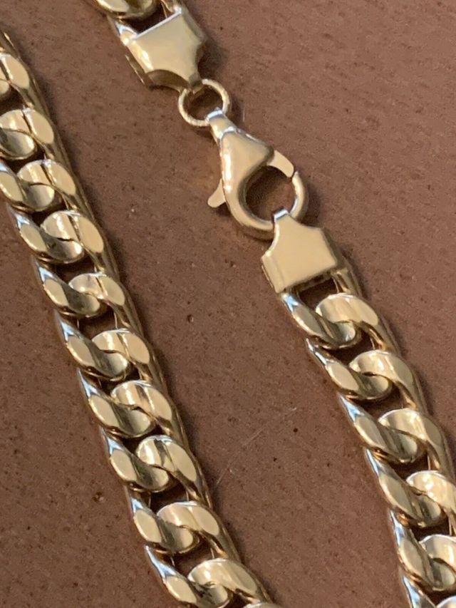 18K Collar Barbado CUBANA 7mm 60 cm Oro 18 Kilates