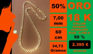 18K Collar Barbado CUBANA 7mm 60 cm Oro 18 Kilates