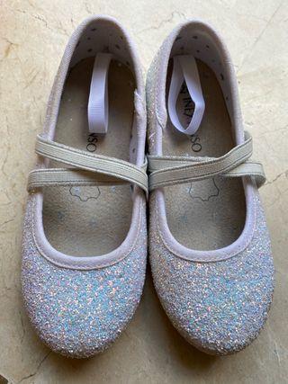 Zapatos de purpurina blanca de piel T.28 nuevos