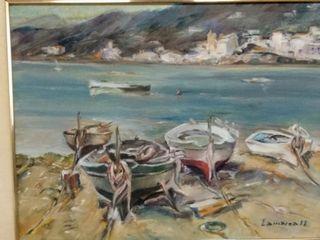 Cuadro barcas y pueblo costero