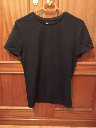 Camiseta básica manga corta negra hombre