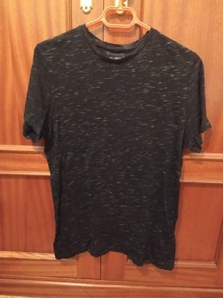 Camiseta manga corta negra jaspeada hombre