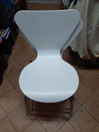 lote de 6 sillas de madera blanca apilables