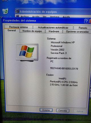 ordenador sobremesa pentium 4 1GB RAM Windows XP