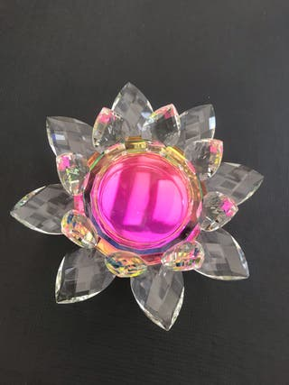 Lotus flower glass candle holder