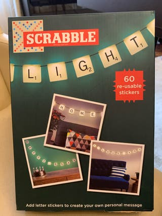String lights with scrabble tiles