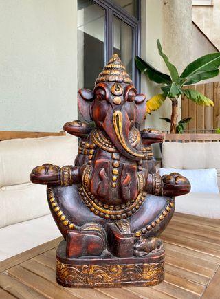 Escultura Ganesha madera