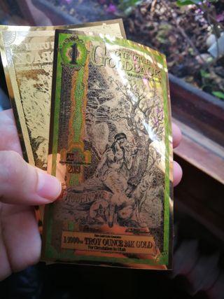 Billete oro 1 gold back Utah 2019