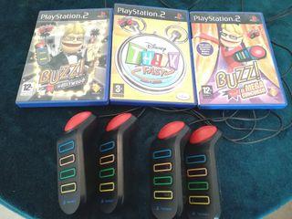 Pulsadores Buzz con 3 juegos para ps2