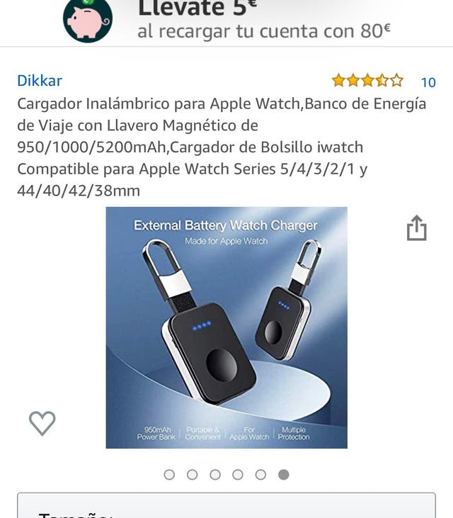 Cargador inalambrico portatil Apple Watch