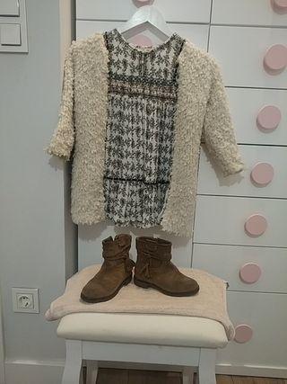 Conjunto de zara..abrigo+ vestido+ botines