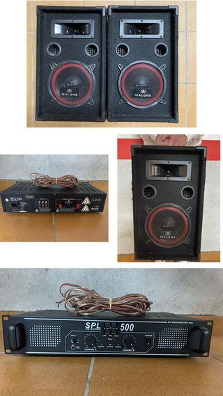 Altavoces + amplificador + micro