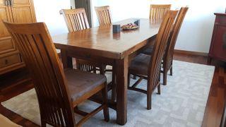 Mesa de madera maciza, castanio y encino