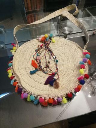 Bolso bandolera de paja decorado