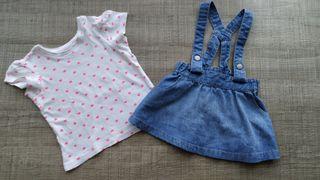 Peto falda vaquera H&M bebé y camiseta T:6-9m.