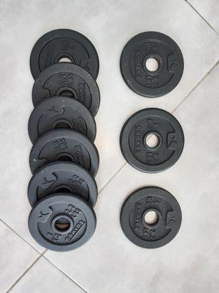 Lote de 20 discos para mancuernas de 1 kg.