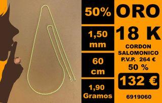 18K Cordon 1,50 mm 60 Cm Oro 18 Kilates 100%