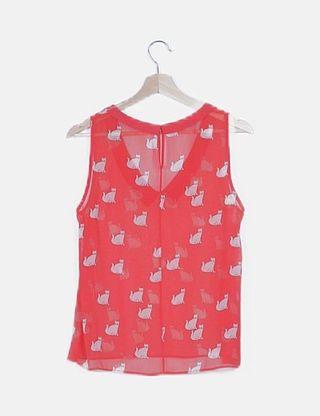 Blusa roja Zara estampado gatos
