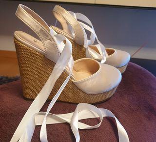 zapatos cuña novia nuevos