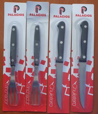 Cubertería. 2 Cuchillos y 2 tenedores