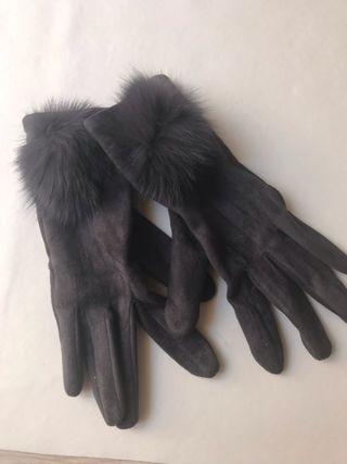 guantes de gamuza color gris
