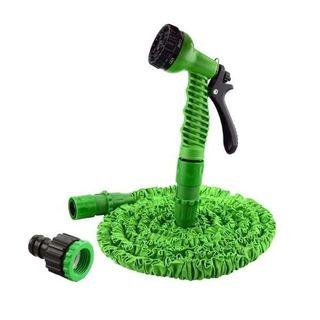 Green extendable garden hose- 100 ft