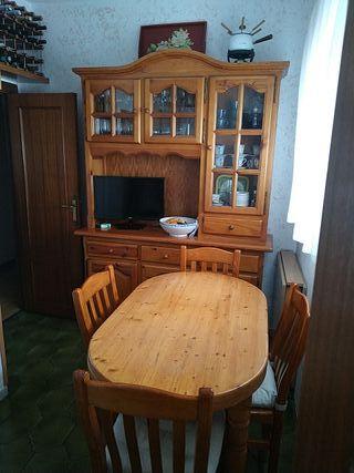 Alacena cocina + mesa + sillas madera maciza pino