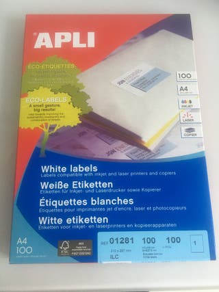 Apli Etiquetas A4, 1281, Blanco (54 unidades)