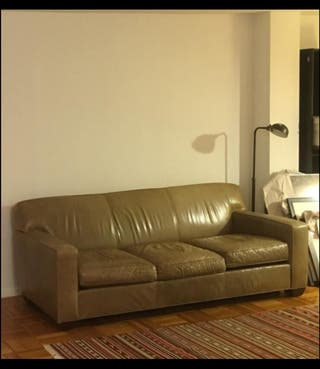 Green Grey Crate and Barrel Leather Sofa