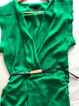 Vestido verde Mango M