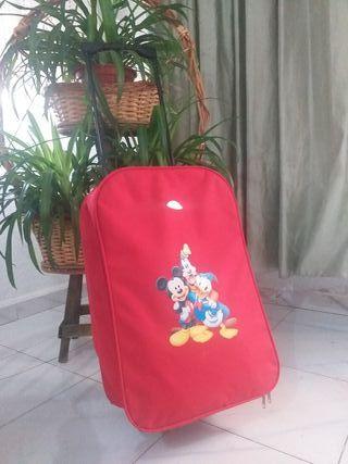 maleta disney niño o niña color rojo más maletin