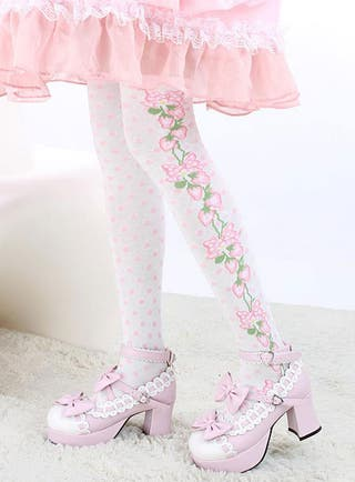 Calcetines Gótico Lolita Lunares Fresa Rosa Blanco
