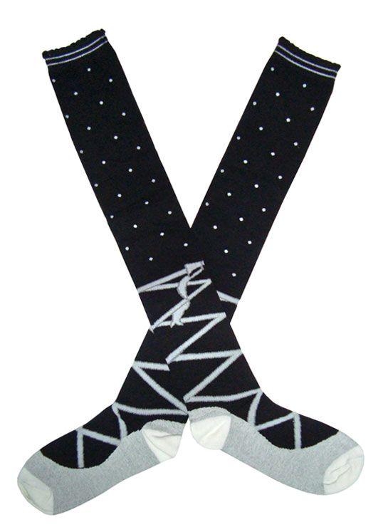 Calcetines Gótico Lolita Japón Lazo Lunares Negro