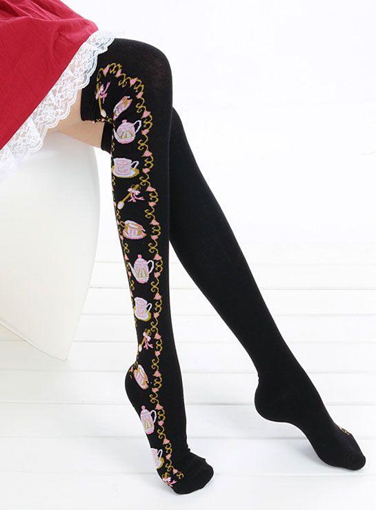 Calcetines Goth Lolita Alicia Maravillas Té Negro