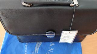 Bolso/maletín de hombre KATANA de piel en negro