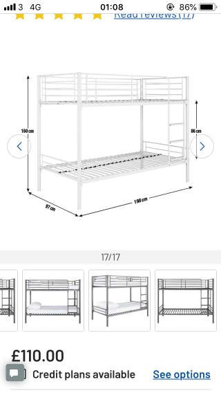 Metal bunk bed with mattress from Argos