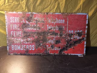 cartel metal bomberos antiguo