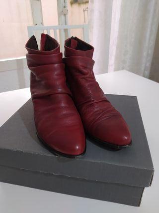 botines de piel rojo burdeos Troppa mujer