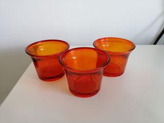 Lot de 3 bougeoirs orange