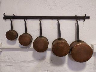 Cazos o sartenes antiguas de cobre originales