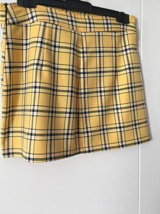 Falda cuadros color amarillo